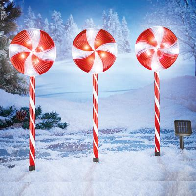 solar candy canes fir driveway solar light stakes set of 3 from collections etc