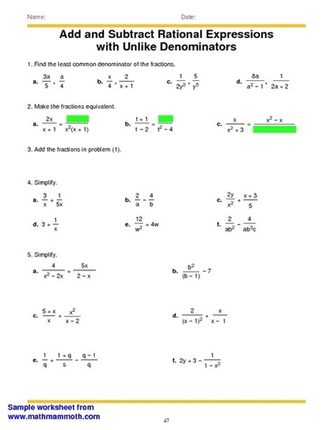 Adding And Subtracting Rational Numbers Worksheet by Adding And Subtracting Rational Expressions Worksheet