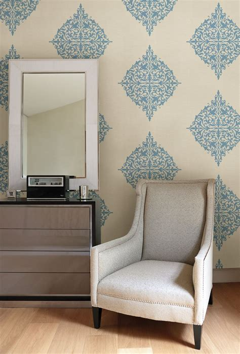 turquoise feature wall  modern medallion wallpaper