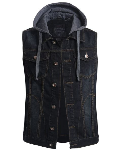 Jacket Denim Mens Premium le3no mens premium denim vest with detachable hoodie