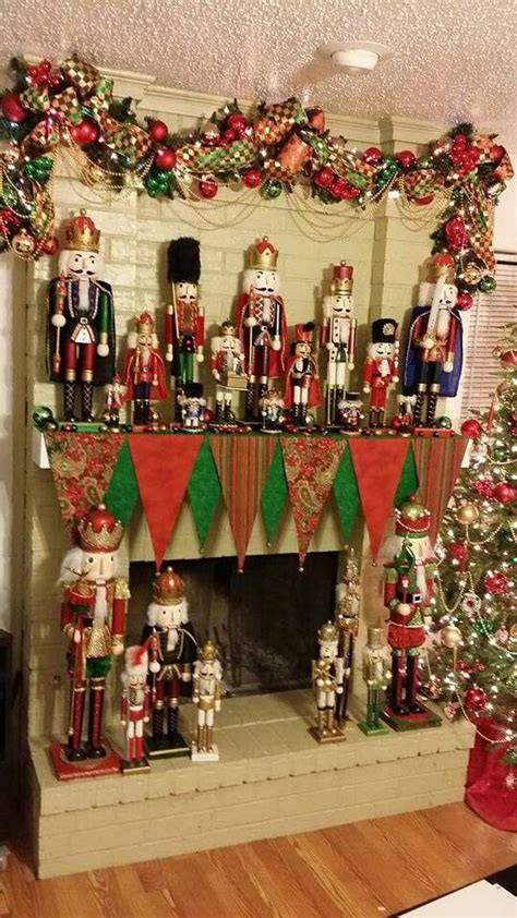 image of christmas mantle with nutcracker i m a obsessed with nutcrackers and my mantle scarf my home decor