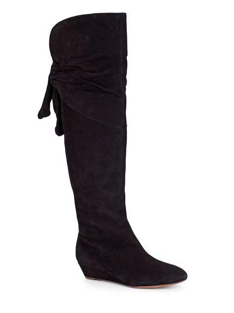elie tahari suede wedge boots in black lyst