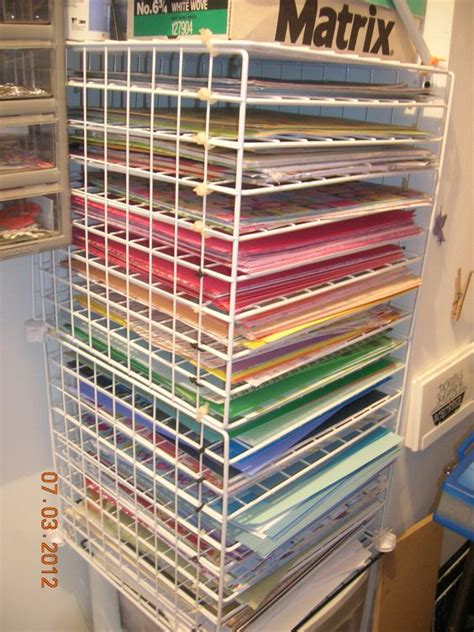pattern paper rack i used the 12x12 wire cube grids from a garage sale and