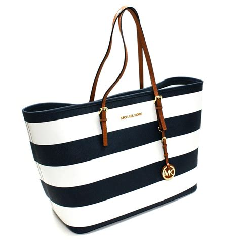 Michael Kors Jet Set Navy michael kors jet set medium travel stripe genuine leather tote navy 30s3gvst2l michael kors