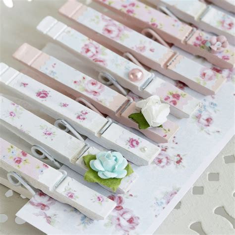 Decoupage Photo - decoupage clothes pegs with pretty floral paper