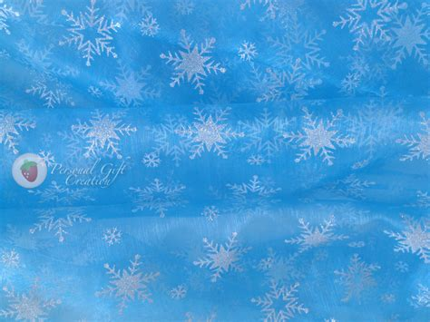 Frozen Sky Blue frozen elsa sky blue organza with silver snowflakes fabric by
