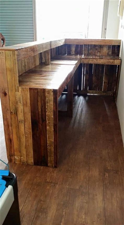 how to build a bar top counter pallet shop counter reception desk pallet furniture diy