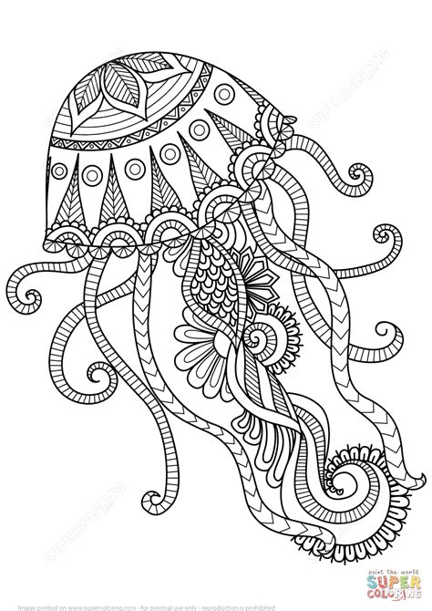 jellyfish zentangle coloring page free printable