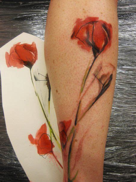 watercolor tattoo black skin watercolor flower inked