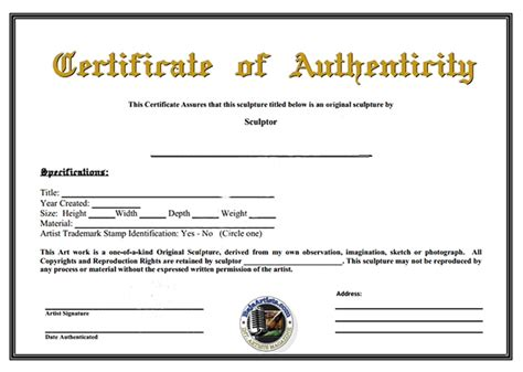 letter of authenticity template certificate of authenticity template sanjonmotel