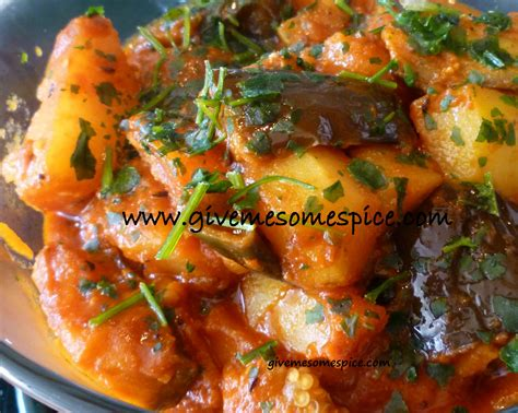 authentic vegetarian indian recipes potatoes and aubergine eggplant curry ringna bateta