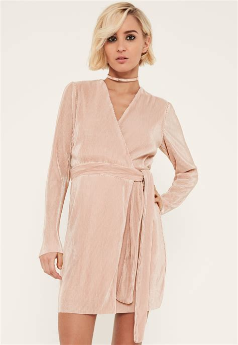 light pink wrap dress missguided pink pleated long sleeve wrap dress in pink lyst