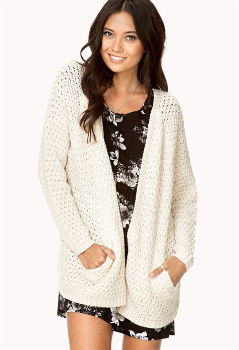 Cardigan Forever 21 Forever 21 Easy Open Front Cardigan In White Lyst