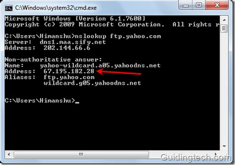 find ip address   domain  nslookup command