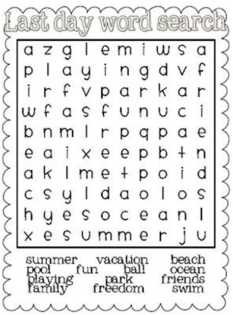 printable word searches for june summer june day at the beach here is a free end of year