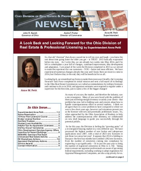real estate newsletters templates sle real estate newsletter 4 documents in pdf
