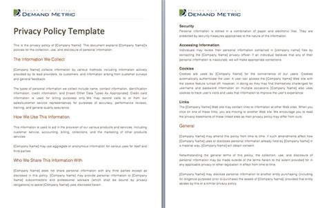 privacy policy template a template to assist you with