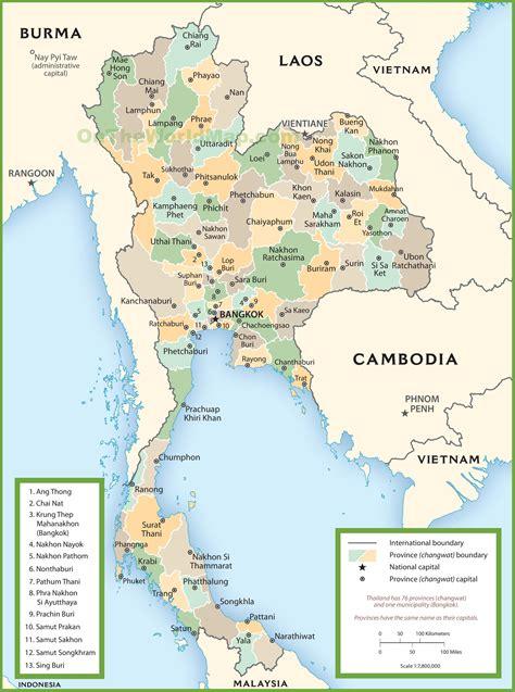 printable map thailand thailand political map