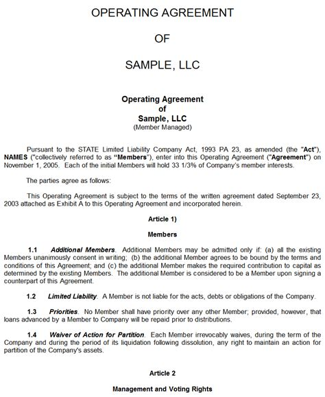 operating agreement template llc sle llc operating agreement