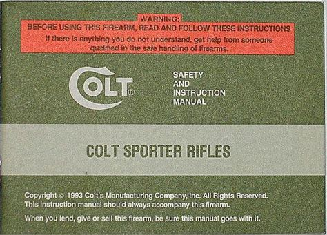 Colt Ar15 Sporter Owners Manual Oem