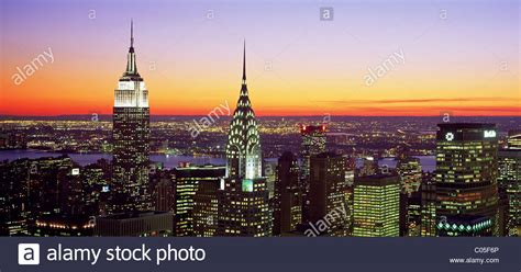 chrysler building and empire state building new york city skyline looking west with the empire state
