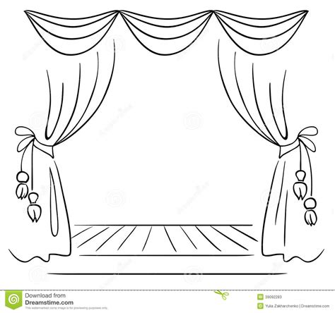 curtain drawing coloring pages draw the curtain clipart clipground