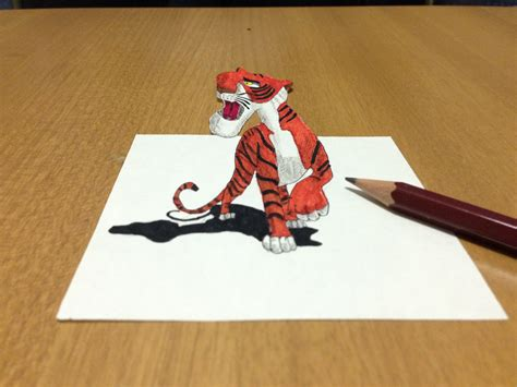 3d Tiger Drawing In Cartoon Trick Art Anamorphic Illusion How To Make Colored Paper L