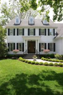 exterior landscaping white colonial house traditional exterior chicago