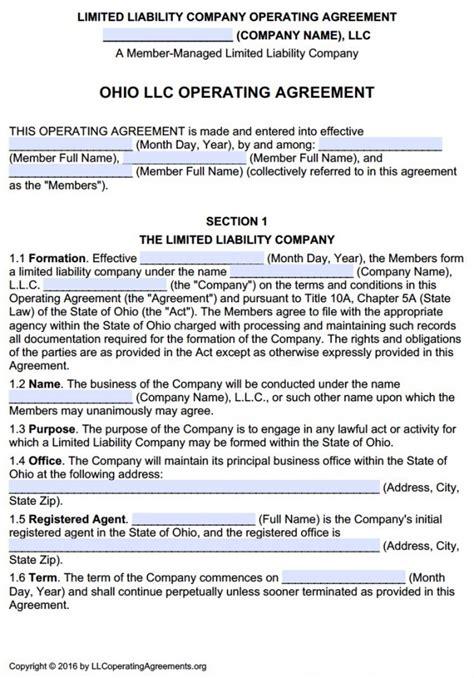Ohio Multi Member Llc Operating Agreement Free Llc Operating Agreements Free Llc Operating Ohio Llc Operating Agreement Template