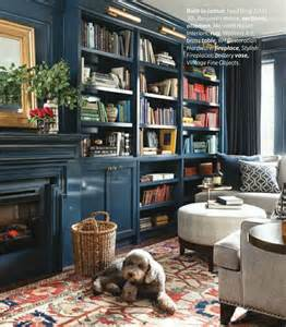 Painted Built In Bookshelves Blue Painted Library Bookcase Shelving