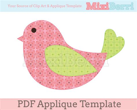 Applique Templates Free bird applique template pdf instant by mixiberri