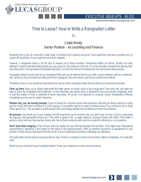 Resignation Letter Sle Going To Competitor Time To Leave How To Write A Resignation Letter