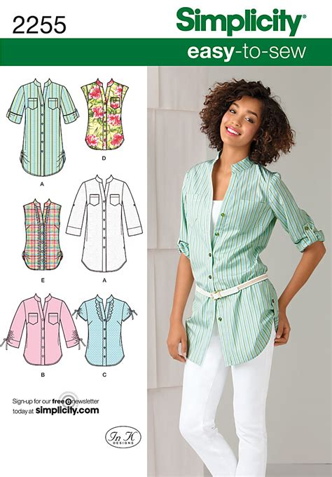shirt pattern list simplicity 2255 misses easy to sew tunic or shirt