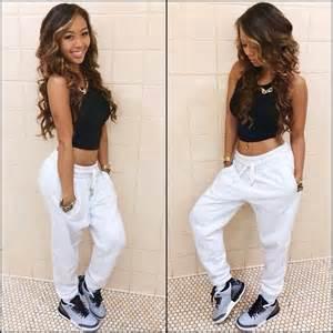 Comfortable Lose Nike Yoga Pants Kickback Swag Look Grey Jordans And Harem Shorts