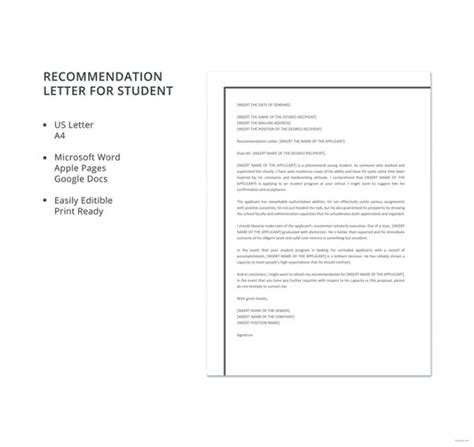Student Recommendation Template by 12 Letter Of Recommendation For Student Templates Pdf