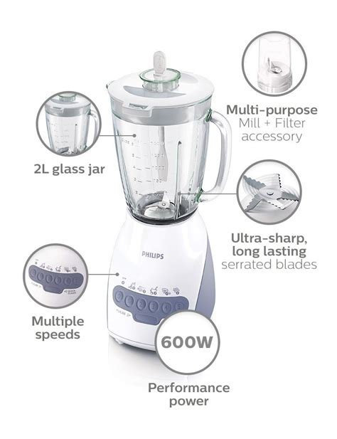 Blender Hr 2116 philips blender 600w 2l glass jar multi mill hr2116
