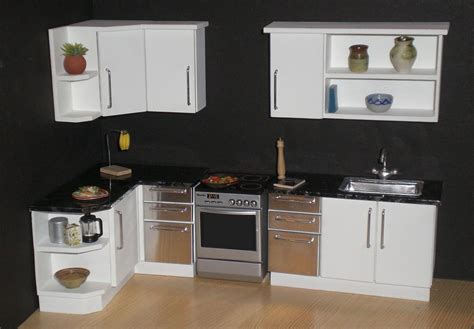 White modern 1/12th scale dollhouse kitchen   From my