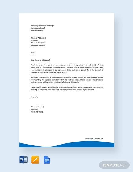 contract cancellation letter templates google docs