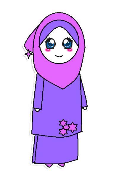 Asmira Ungu royalty magic freebies doodle muslimah baju kurung