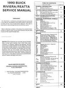 1990 buick riviera reatta repair shop manual original