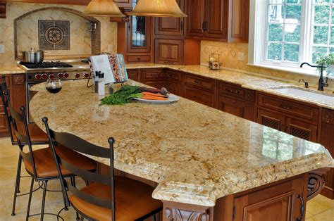 Classic Brown Granite Top Galley Kitchen With Arched Granite Kitchen Island Ideas