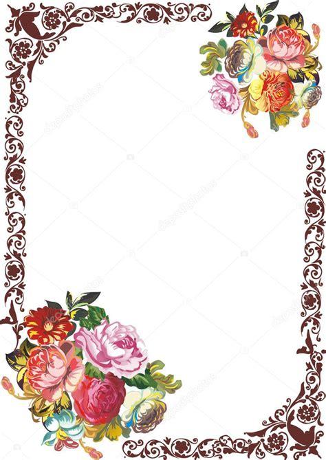cornici como cornice marrone con fiori vettoriali stock 169 dr
