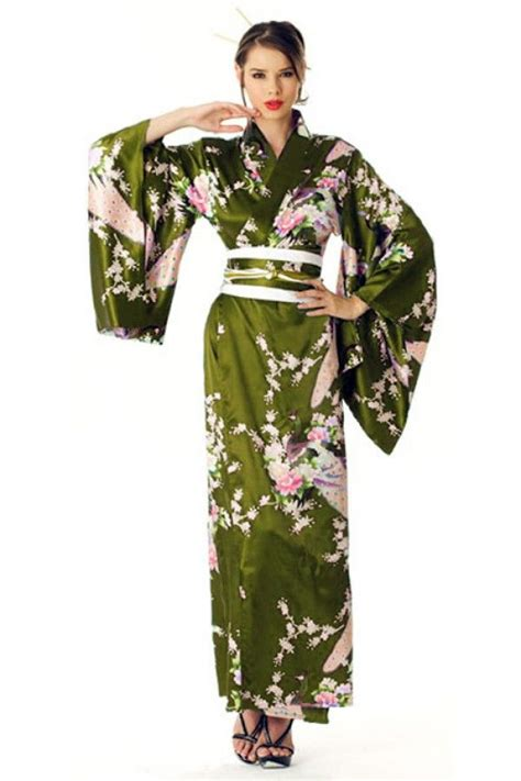 green pattern kimono luxurious deep olive green kimono with peacock and floral