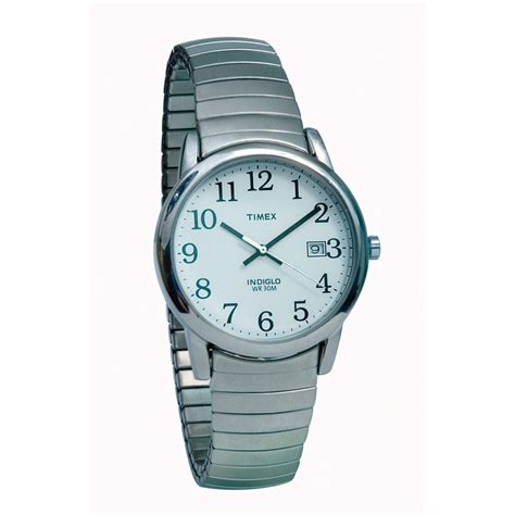 maxiaids timex indiglo mens chrome with expansion band