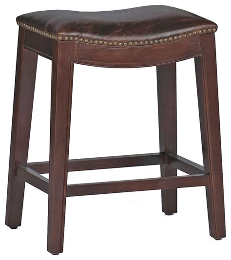 leather top bar stools pair frasier rustic lodge curved seat top grain leather