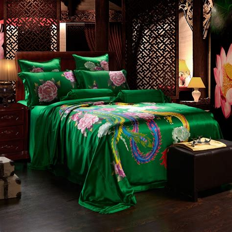 emerald green comforter emerald green gold and pink chinese dragon and phoenix