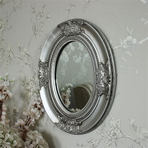 silver oval mirrors bathroom ornate silver oval wall mirror shabby vintage chic bedroom
