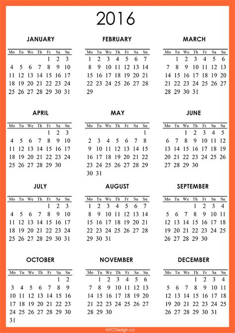 printable 2016 calendar new calendar template site