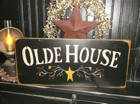 country home decor signs wood sign country rustic home decor sign quot olde house quot handmade prim wood signs ebay