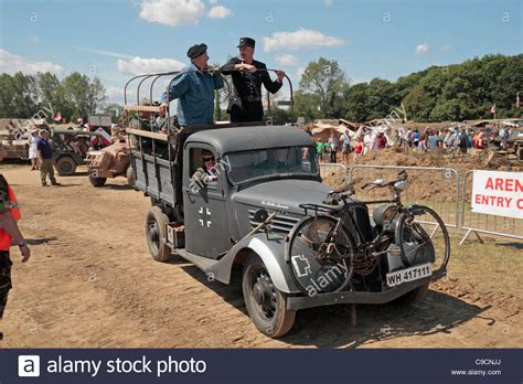 a ww2 french renault truck with german markings on display at the stock photo royalty free